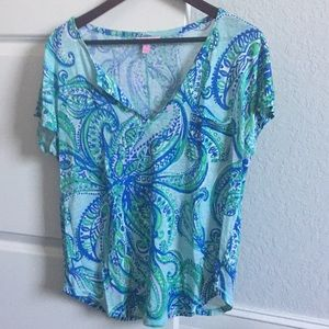 Lilly Pulitzer 100% Linen V neck shirt - M